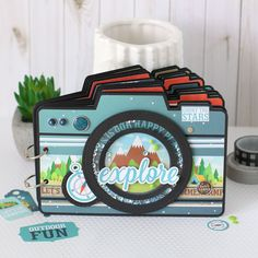 "Explore what's possible with an adventurous mini album featuring adorable paper designs from the new Echo Park ""Summer Adventure"" collection! BASTELN Explore what's possible with an adventurous mini album featuring adorable paper designs from Mini Scrapbook Albums, Travel Scrapbook, Scrapbook Cards, Mini Albums Scrap, Echo Park, Camera Cards, Mini Photo Albums, Elizabeth Craft Designs, Diy Papier"