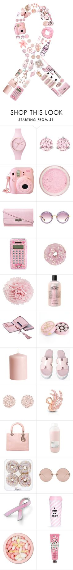 """I Wear Pink to help find a cure for breast cancer!"" by stelbell ❤ liked on Polyvore featuring Ice-Watch, Swarovski, Cotton Candy, Fujifilm, Dorothy Perkins, Miu Miu, Miss Etoile, philosophy, Lili Radu and Charbonnel et Walker"