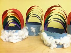 "3D rainbow art for kids- Cut strips of paper (each slightly shorter than the last), line up the ends and staple together. Create the ""sky"" with a ring of paper and cotton balls for the clouds"