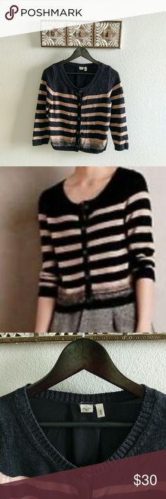"""Anthropologie Moth Striped cardigan In great used condition no flaws to note   Length 21"""" Armpit to armpit 17""""  52% cotton 48% viscose   All reasonable offers considered! Anthropologie Sweaters Cardigans"""