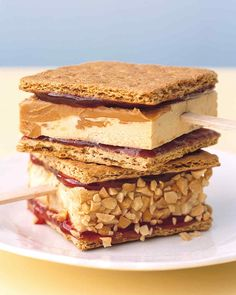 Homemade peanut butter-swirl ice cream is the star of this take on a perennial favorite. Graham crackers are covered with a layer of strawberry jam before the ice cream is sandwiched between them. Chopped peanuts can be pressed into the sides for those who like a bit of crunch.