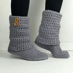 Items similar to Women's Crochet Light Gray Slouchy Slipper Boots, Knitted Ladies Slippers, Leg Warmer Booties, Warm Winter Slipper Socks, Cool Grey Boots on Etsy Crochet Slipper Boots, Knitted Slippers, Slipper Socks, Crochet Slippers, Knit Crochet, Crochet Shoes Pattern, Shoe Pattern, Modern Crochet, Grey Boots