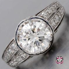 Deco Platinum Engagement Ring - GIA 1.56ct E/VS Diamond