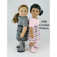 Reversible Chevron Dress Crochet Pattern for American Girl or other 18 inch Dolls