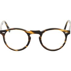 Oliver Peoples Brown Tortoiseshell Gregory Peck Glasses ($265) ❤ liked on Polyvore featuring accessories, eyewear, eyeglasses, glasses, sunglasses and glasses, brown eyeglasses, tortoise glasses, round tortoise shell eyeglasses, round tortoise glasses and round tortoiseshell glasses