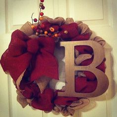 Fall Burlap Wreath with Initial by LandrieLaneDesigns on Etsy, $53.00