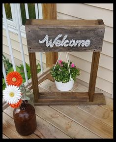 """Welcome"" wood plant stand"