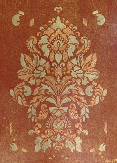 Damask Illusion in Red and Gold Leaf