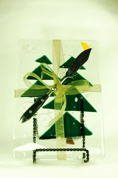 """6x9"""" Holiday trees glass fusion cheese boards"""