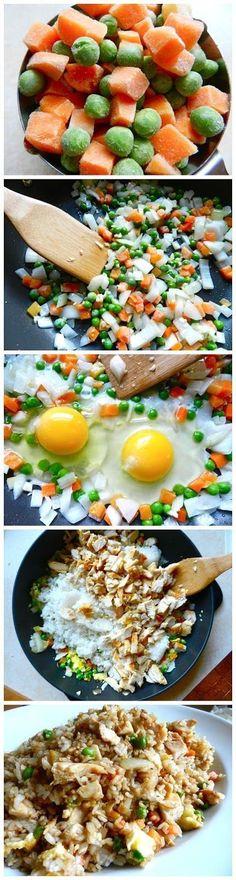 Better-Than-Takeout Chicken Fried Rice #healthier #chicken #friedrice