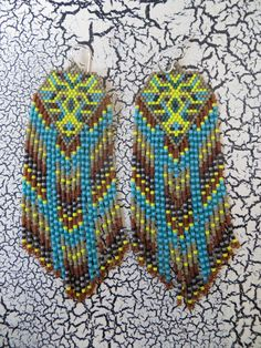 Long Yellow and Turquoise Fractal Seed Bead by SacredImprints, $195.00