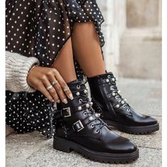 Step into style with the black deezee boots with decorative studs ❤️ deezeeshoes deezee shoes Worker Boots, Winter Shoes, Girls Out, Black Boots, Stella Mccartney, Bag Accessories, Studs, Fashion Shoes, Dior