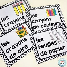 French Classroom Decor Polka Dots: classroom supply labels in color and B&W. A beautifully-decorated French classroom with little to no color ink use! Kindergarten Classroom Organization, Classroom Labels, Classroom Supplies, Classroom Management, French Teacher, Teaching French, Teaching Spanish, French Classroom Decor, French Flashcards