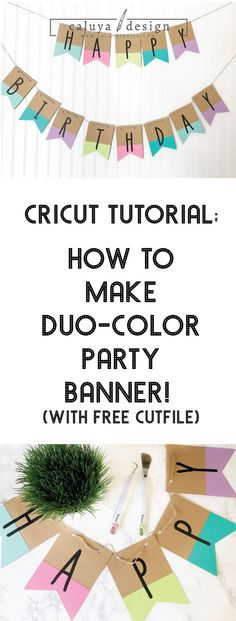 Learn how to make duo-color party banner with Cricut, Cameo silhouette or other major cutting machin Birthday Party Decorations Diy, Birthday Diy, Birthday Nails, Birthday Parties, Birthday Star, Farm Birthday, Birthday Ideas, Free Banner, Diy Banner