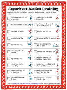 Camping Activities Discover Superhero Action Verb Challenge Incorporate movement and learning with this fun worksheet to teach action verbs Check out the complete Superhero Action Verb packet. Gross Motor Activities, Gross Motor Skills, Therapy Activities, Preschool Activities, Super Hero Activities, Super Hero Crafts, Movement Activities, Super Hero Games, Physical Education Activities