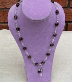 Heart Shaped Smokey and Clear Quartz Necklace by evecollection, $31.00