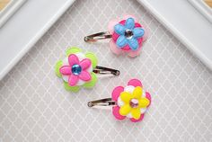 Flower Snap Clip Assorted Flower Hair Clips Little by SpunkyBunny