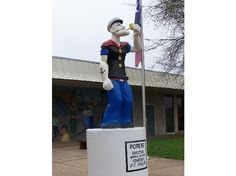 Mar. 26, 1937, spinach growers of Crystal City, TX, erect a 6-foot-tall concrete statue of Popeye.