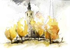 Phillip Buckingham: Berlin church in watercolour and pencil - limited palette but a dramatic effect. nice way to do #watercolour trees