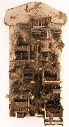 Cardboard Sculpture, Sculpture Art, Cardboard Houses, Instalation Art, Art Carved, Assemblage Art, Altered Art, Altered Tins, Recycled Art
