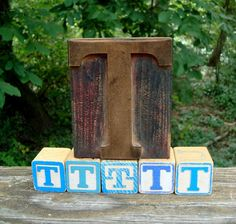 Letterpress Wood Letter T with 5 ABC Blocks by ThreeOldKeys, $19.00