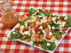 Strawberry Spinach salad with strawberry citrus vinaigrette: spinach, strawberries, walnuts, chicken, feta or bleu cheese; Dressing: strawberries, orange juice, white wine vinegar or apple cider vinegar, olive oil