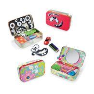 Altoid tin up cycle play idea. Silly face magnet man. Good for play on the go. Purse size. Glove box size. Portable toy. Altoid tin idea for kids.