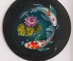 Koi Painting, Pottery Painting, Stone Painting, Acrylic Art, Acrylic Painting Canvas, Canvas Art, Koi Art, Fish Art, Gouche Painting