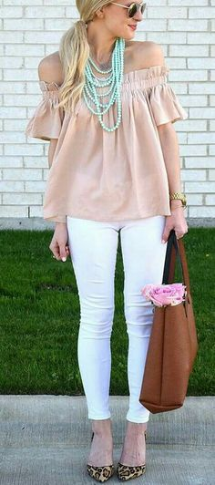 Blush off-shoulder top