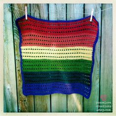 Rainbow 100 Cotton Crocheted Baby Blanket by peacelovecreations, $30.00