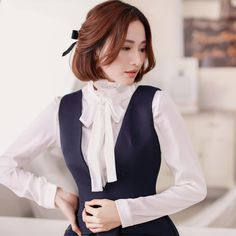 Korean Style - Slim V-neck vest dress