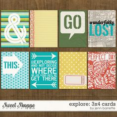 Explore 3x4 Cards by Jenn Barrette - pocket scrapbooking, project life, cards