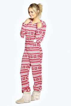 Boohoo-Womens-Katia-Sleepwear-Nightwear-Snowflake-Fairisle-Pom-Pom-Onesie-in-Red