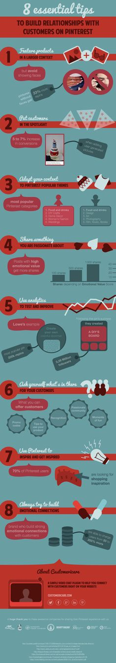 #Infographic - 8 Essential Tips to Build Relationships with Customers on #Pinterest - #socialmedia