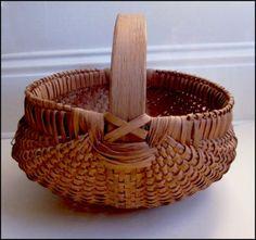 Handwoven harvest primitive market basket - mad of split white oak