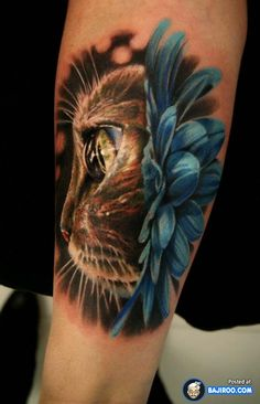 amazing awesome cool latest stylish 3d tattoos design ideas pics images pictures photos beautiful lovely cat arm 41 Awesome 3D Tattoo Designs
