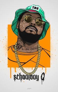 Schoolboy Q Amazing Hip Hop Rapper Arte Do Hip Hop, Hip Hop Art, Mode Hip Hop, Trill Art, Schoolboy Q, Dope Cartoons, Rapper Art, Dope Wallpapers, Dope Art
