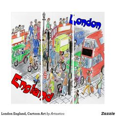 Shop London England, Cartoon Art created by Artastico. Wall Art Sets, Cartoon Art, London England, Baseball Cards, London