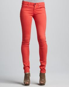 fashion  style - ShopStyle: Neiman Marcus Rich and Skinny Ankle Skinny Jeans, Sergeant Coral