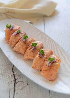 Hero Shot of Aburi Salmon sushi. Raw Salmon, Salmon Sushi, Salmon And Asparagus, Sushi Recipes, Salmon Recipes, Seafood Recipes, Cooking Recipes, Cooking Ideas, Cooking Salmon