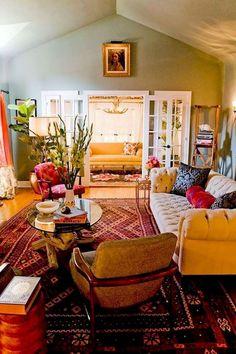 Modern bohemian living room decor ideas (73) Bohemian Living Rooms, Chic Living Room, Living Room Colors, Home Living Room, Living Room Designs, Living Room Decor, Cozy Living, Bohemian Room, Living Area