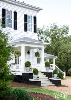 house, white house, black shutters, green topiaries