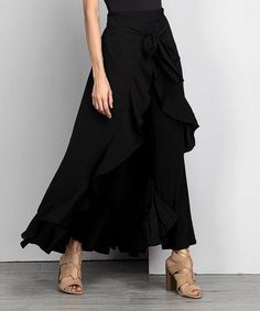 Love this Black Chiffon High-Waist Ruffle Pants - Women & Plus on #zulily! #zulilyfinds