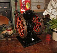 Vtg Antique Philadelphia Enterprise No.2 Double Wheeled Cast Iron Coffee Grinder #NaivePrimitive