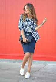 Denim pencil skirt, tee, plaid/gingham button down top, sneakers.
