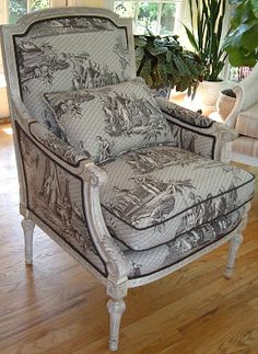 Wydeven Designs: French Furniture - Bergere and Fauteuil Chairs French Provincial Furniture, French Furniture, Hickory White, Patterned Chair, Bergere Chair, French Fabric, French Chairs, French Decor, Decoration