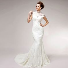High Neck Trumpet / Mermaid Lace wedding dress  Read More:     http://www.weddingsred.com/index.php?r=high-neck-trumpet-mermaid-lace-wedding-dress.html