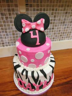 minnie mouse zebra cake
