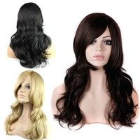 100% High Temperature wire Long Hair, Wave Wig Inclined bang FOR women