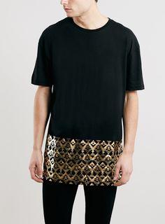 Black Foil Hem SKATER FIT Print T-Shirt
